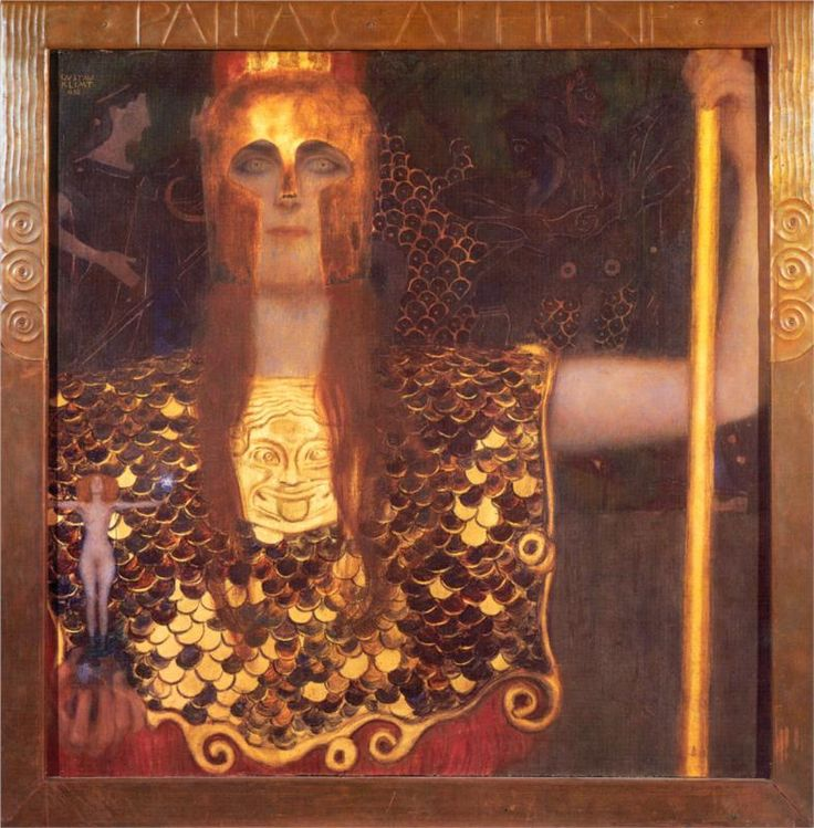 Minerva or Pallas Athena, 1898  By Gustav Klimt (the Greek goddess of wisdom, courage, inspiration, civilization, law and justice, just warfare, mathematics, strength, strategy, the arts, crafts, and skill.)
