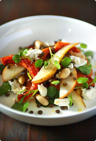 Warm spiced pumpkin and lentil salad with pears, almonds, and goat ...