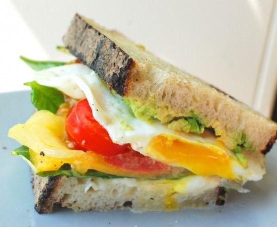 Burrata, basil, crispy egg sandwich | nom nom nom | Pinterest