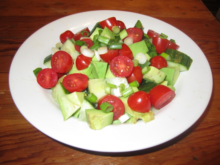 Not-so-Dumb Salad with Cucumbers, Tomatoes, Onions, Avocado, and Bals ...