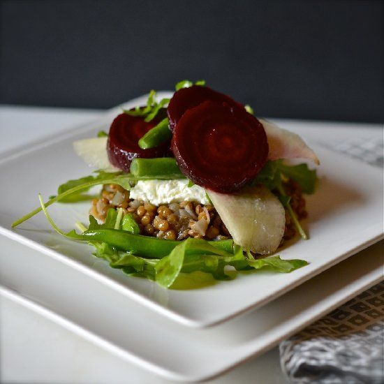 Warm Lentil Salad with Roasted Beets and Goat Cheese.