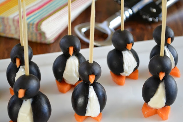 Olive/Cream Cheese Penguins! | Appetizers | Pinterest