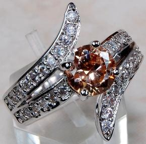 Crossover ring like diamonds solid 925 ss peacock sale sz 8 69 99