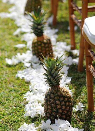 wedding photography - rachel robertson photography - ceremony decor - aisle decor - orchids & pineapples