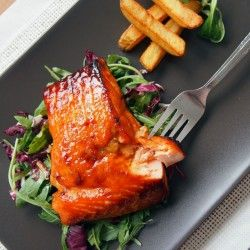 Simple and fast to make grilled salmon with honey miso glaze.