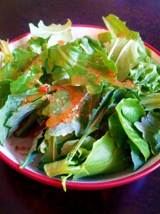 Salad with homemade red pepper jelly vinaigrette. Incredibly delicious ...