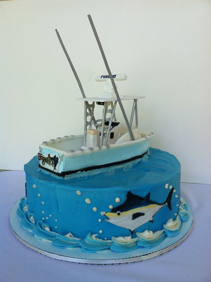 Tarta Barco Bayliner Bayliner Boat Cake SweetCreationsbySC - Fishing boat birthday cake