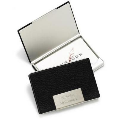 Personalized Black Leather Business Card Cases