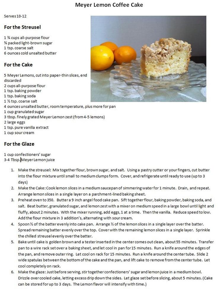 Meyer Lemon Coffee Cake | Breakfast | Pinterest