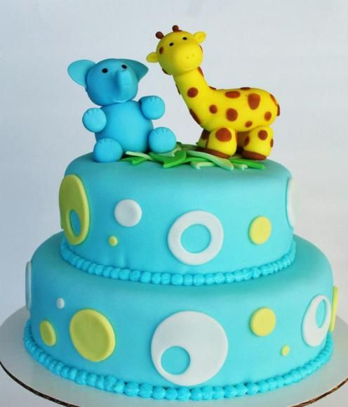 Baby Zoo Animal Baby Shower Cake