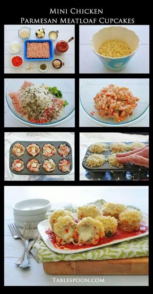 Mini meatloaf chicken parmesan cupcake | Chicken | Pinterest