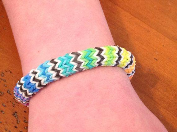 rainbow loom bracelet rainbow hexafish pattern