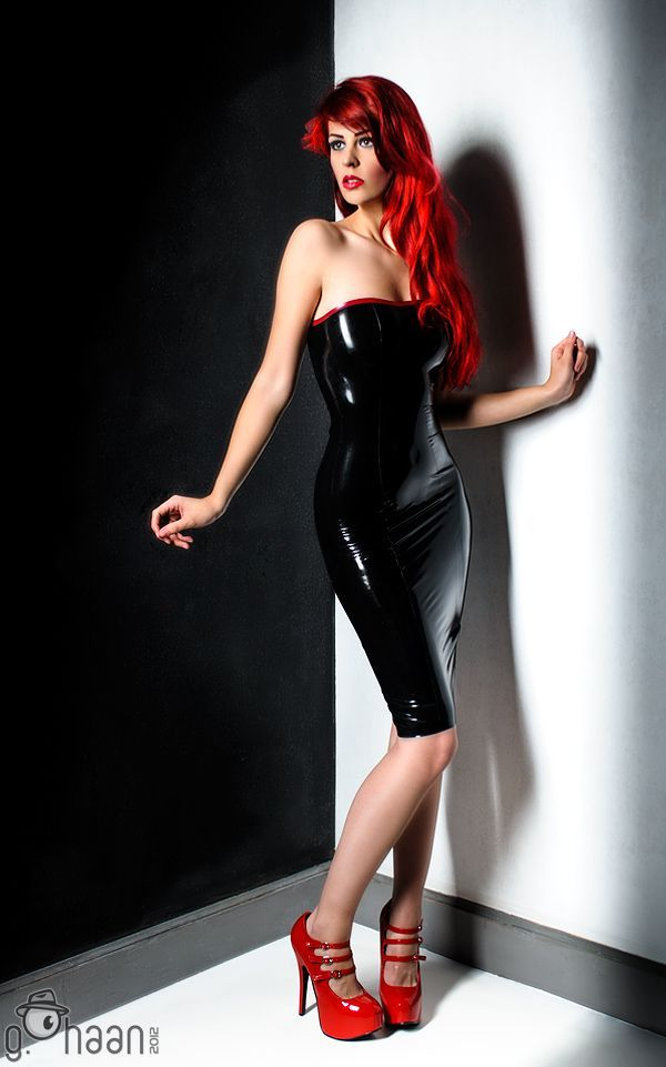 Black Latex Dress and Red Strappy High Heels