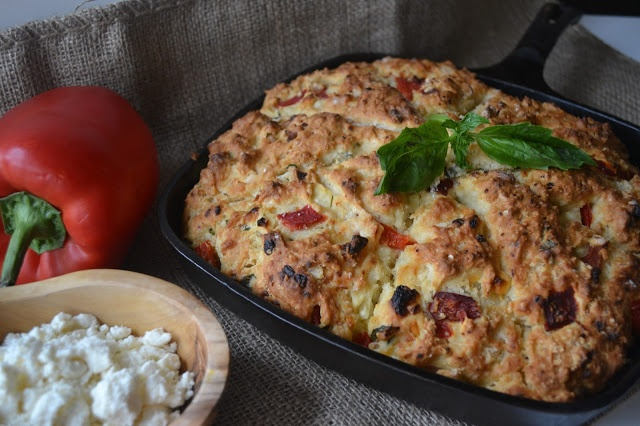 Roasted Red Pepper & Feta Skillet Scones, from Candy Girl
