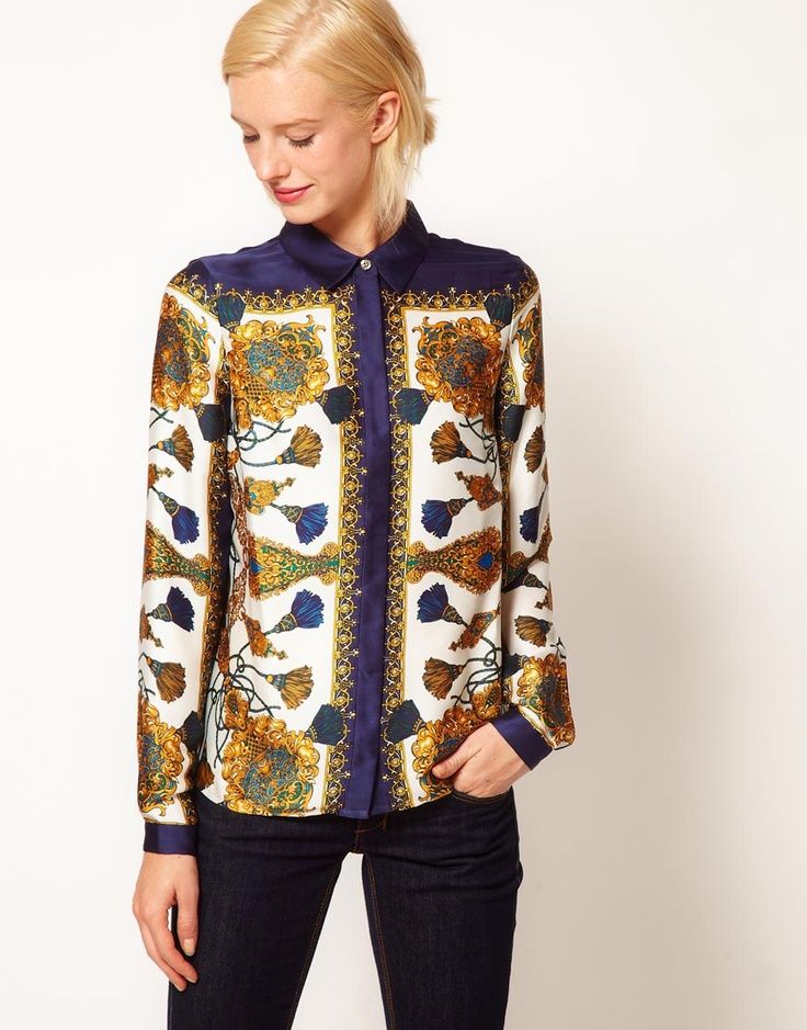 shirt with placement scarf print