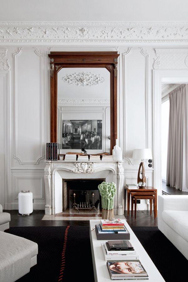 white, parisian, moulding, interior design, apartment, contemporary