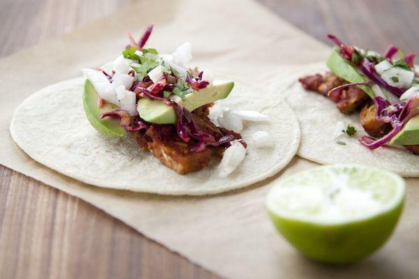 tempeh tacos / a thousand threads. Marinate tempeh in salsa. So simple ...