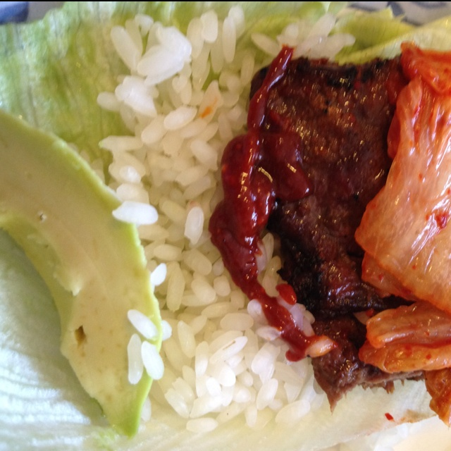 "Korean ""taco"" (Ssam) - lettuce wrap with kalbi(korean BBQ), Korean ..."