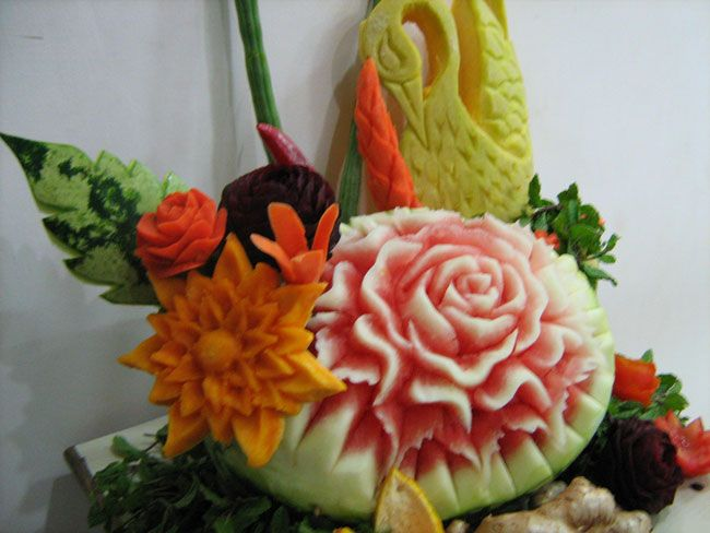 Fruit carving carve watermelon swan all things