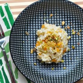 Butternut squash and creamy risotto are finished with a crunchy ...