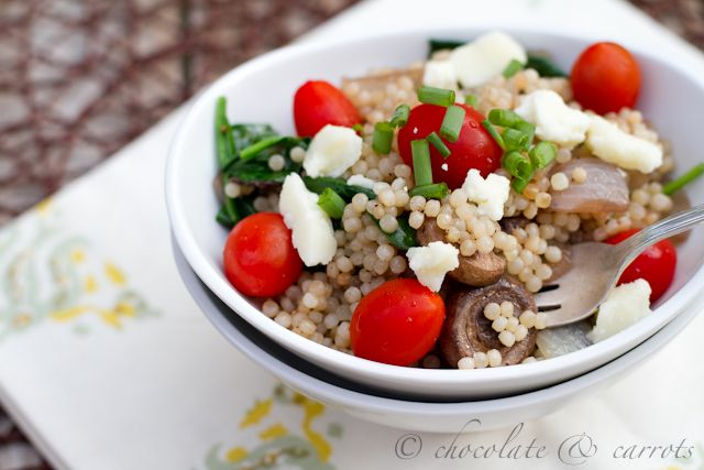 israeli couscous, olive oil, onion, mushrooms, salt, pepper, greek ...
