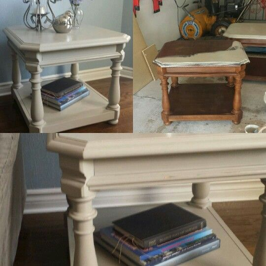Before And After Painted End Table Trash To Treasure