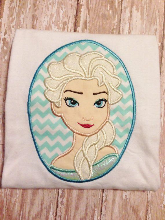 Frozen Snow Queen Cameo Applique Embroidery Design 4x4 5x7