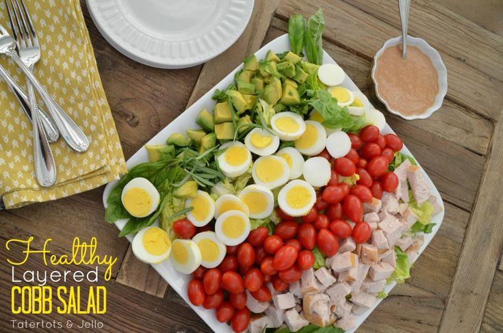 healthy layered cobb salad | saladas | Pinterest