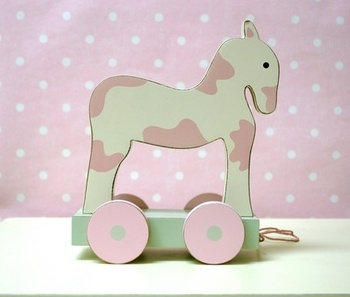 new arrivals white and pink pull horse