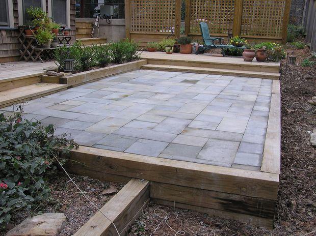 Cement Tiles For Backyard : Outdoor Patio Flooring Options  combine stonetile wwood