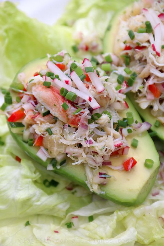 Crab salad stuffed avocados | Recipe
