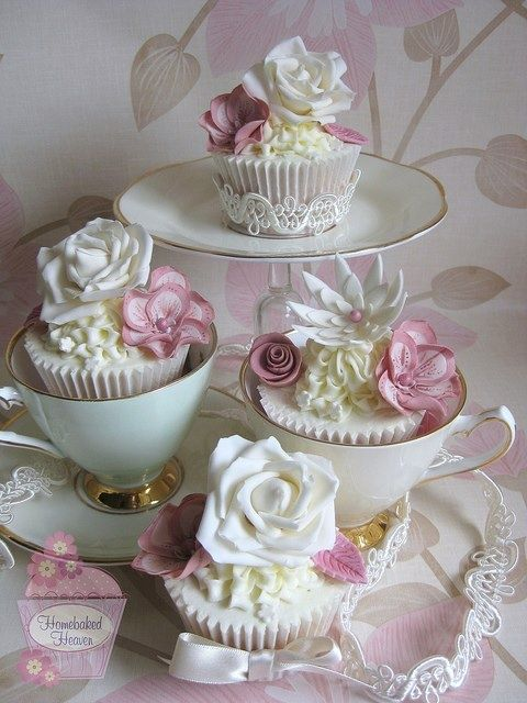 afternoon tea with pretty cupcakes