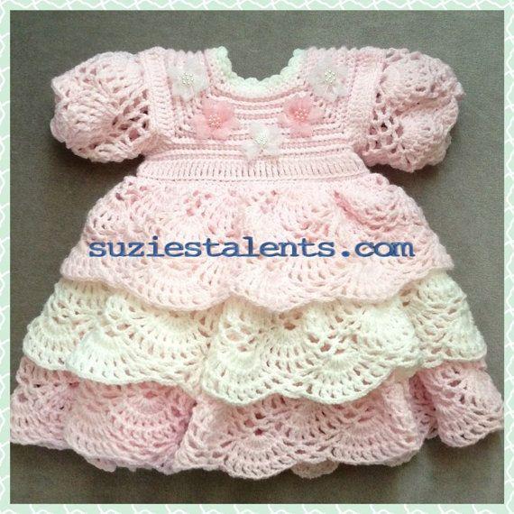 Baby Dresses To Crochet Patterns : SALE - Crochet Baby Layers Dress, Baby Christening Dress ...