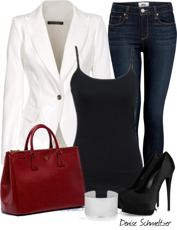 """White Jacket"" by denise-schmeltzer ❤ liked on Polyvore"
