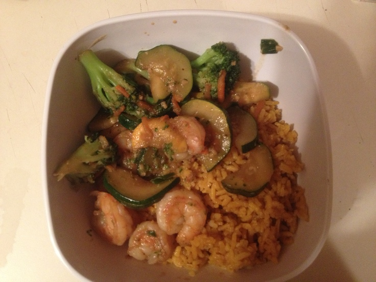 Home fried rice, sautéed shrimp, zucchini, squash, broccoli, carrots ...