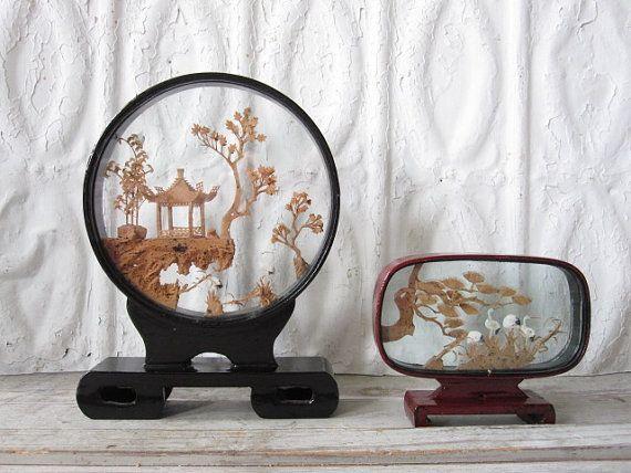 Framed Oriental Cork Sculptures by momentofnostalgia on Etsy, $32.00