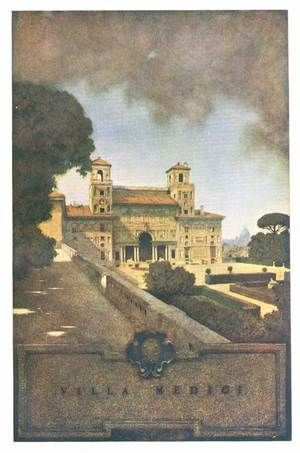 "Maxfield Parrish (American, 1870-1966). 'Villa Medici, Rome' from ""Italian Villas and Their Gardens"" by Edith Wharton (1904)"