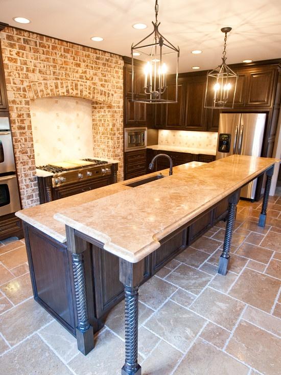 Travertine Countertops : Kitchen Travertine Countertop Kitchen Countertops Pinterest