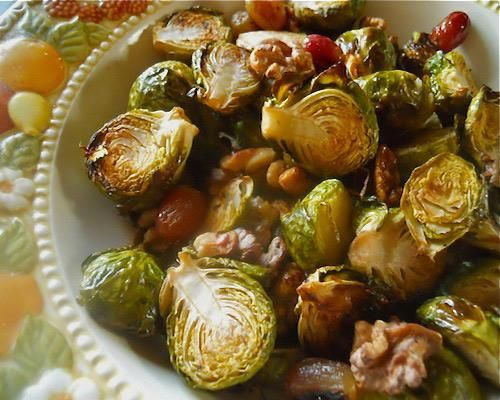 Roasted Brussels Sprouts with Grapes and Salad | Recipe