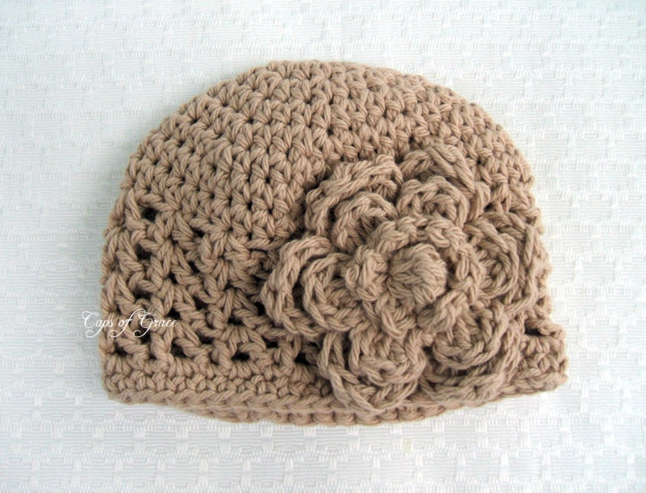 Crochet Hat PATTERN Baby Girl Crochet Hat V Stitch Flower Flapper ...