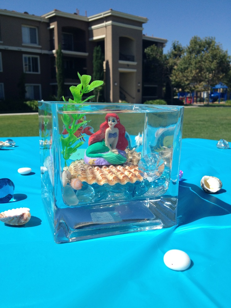 Little mermaid centerpieces alyssa 39 s 4th birthday for Little mermaid fish tank