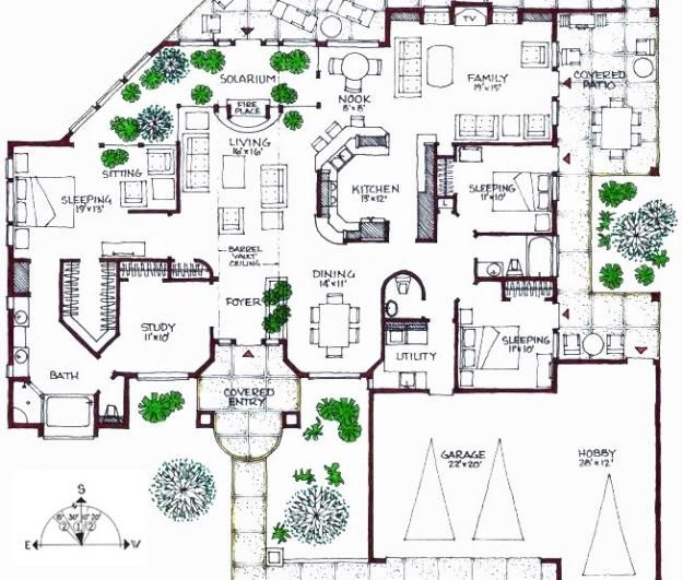 Passive Solar 1 Story Floor Plan For The Home Pinterest