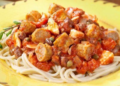 Spaghetti Puttanesca with Sausage   Sausage Entrees   Pinterest