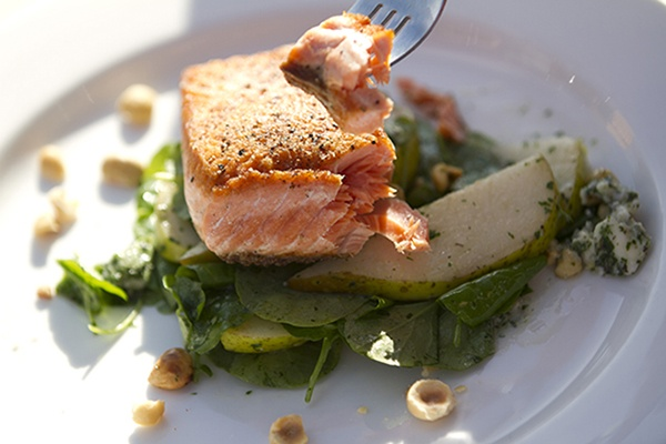 Seared Salmon Over Watercress, Roquefort, Pear and Hazelnut