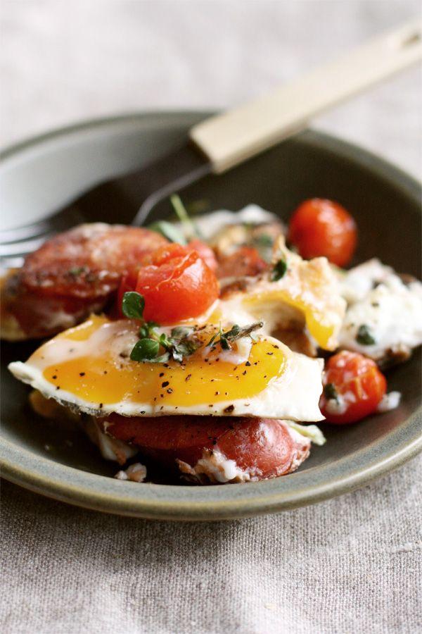 Sausage, mushrooms, tomatoes and eggs.
