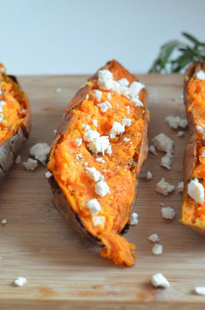 Rosemary and Feta Stuffed Twice Baked Sweet Potatoes | The Redhead's ...