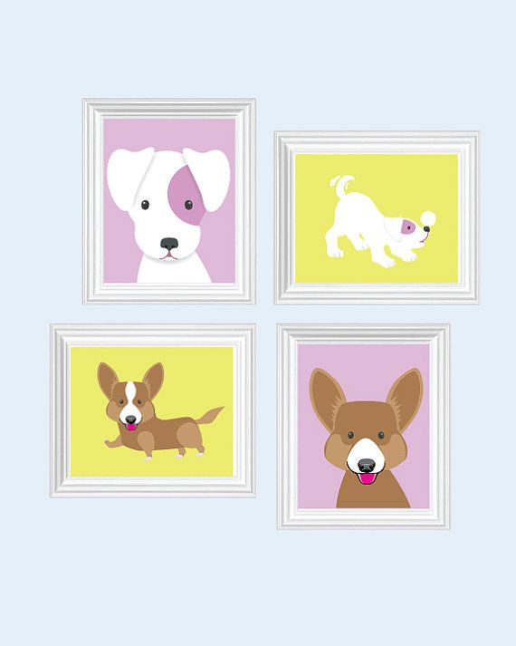 Baby girl nursery art dog nursery art puppy nursery for Baby girl nursery paintings