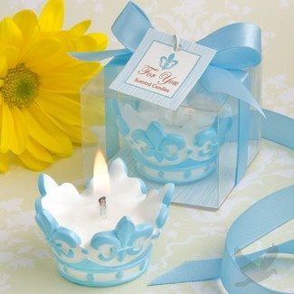 Blue Crown Design Scented Candle Favor [328-9457 Blue Crown Candle Fa…