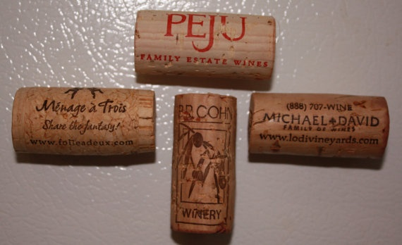 Set of 4 recycled wine cork magnets by sharoncornejo on etsy 5 00