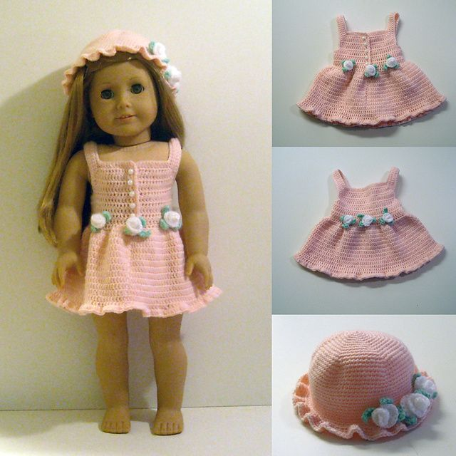 PDF Crochet Pattern - Dress and Hat to American Girl Doll ...